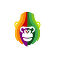 creative abstract colorful gorilla head logo vector image vector image