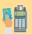 credit card and pos terminal flat vector image vector image