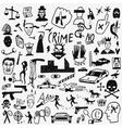 Crime doodles set vector image