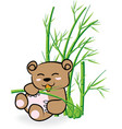 cute Bear in Bamboo Forrest 02 vector image
