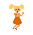 cute blonde girl in dress dances vector image