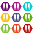 flippers icon set color hexahedron vector image vector image