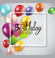 glossy happy birthday concept with balloons vector image