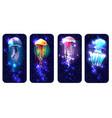 glowing vivid jellyfish on underwater background vector image vector image