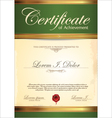Green and gold certificate template vector image vector image