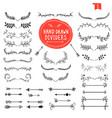 hand drawn dividers line design elements vintage vector image
