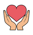 hand holding heart cartoon icon image vector image vector image