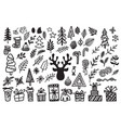 handdrawn christmas elements isolated vector image vector image