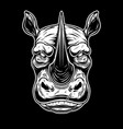 head wild angry rhino in vintage monochrome vector image vector image
