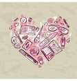 Heart of Makeup products set vector image