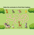 help the animals to find theirs babies vector image vector image