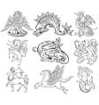 heraldic monsters vector image vector image