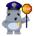 hippo in police suit on white background vector image vector image