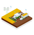 isometric modern smart robots in agriculture iot vector image vector image