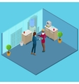 Isometric Office Business People Drinking Coffee vector image