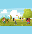 kid play in summer park outdoor sport activity in vector image vector image