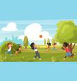 kid play in summer park outdoor sport activity vector image vector image