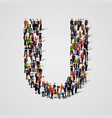 large group of people in letter u form vector image vector image
