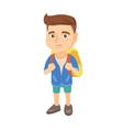 little caucasian sad schoolboy carrying a backpack vector image vector image