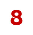 logo number 8 red vector image vector image