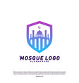 mosque with shield logo design conceptreligion vector image
