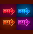 neon arrow sign with text open vector image vector image