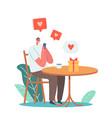 online date man chatting via smartphone vector image vector image