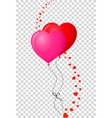 pair of bounded realistic heart shaped helium red vector image vector image