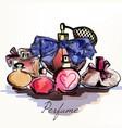 perfumes drawn in watercolor vector image vector image
