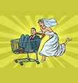 pop art bride and groom in a shopping trolley vector image vector image