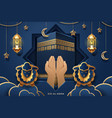 prayer hands kaaba holy stone for eid al-adha vector image vector image