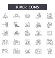 river line icons signs set outline vector image vector image