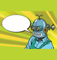 robot worker in apron says comic book bubble vector image vector image