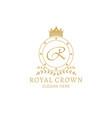 royal crown logo template - golden badge vector image