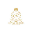 royal crown logo template - golden badge with vector image vector image