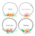 set beautiful round frames with flower vector image
