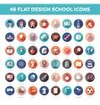 set modern flat design school college icons vector image