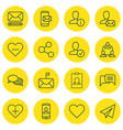 set of 16 communication icons includes online vector image vector image