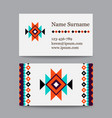 set of geometric tribal colorful business cards vector image vector image