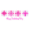 set pink wrapped gift boxes with bows valentines vector image vector image