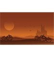 Silhouette of castle and pumpkins Halloween vector image vector image
