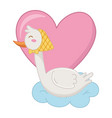 stork with heart vector image