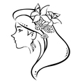 symbolic profile woman with flowers in hair vector image vector image
