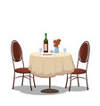 table for two reserved wine bottle and two vector image
