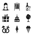 traditional family icons set simple style vector image