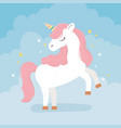 unicorn pink hair stars decoration fantasy magic vector image