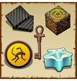 various mysterious objects from boxes and symbols vector image