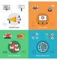Viral marketing 4 flat icons square vector image vector image