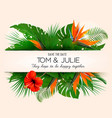 wedding invitation design with exotic leaves vector image vector image