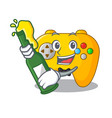 with beer retro computer game control on mascot vector image
